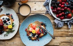 Обои клубника, ежевика, сэндвичи, завтрак, фрукты, ягоды, черника, черешня, кофе, Хлеб, тосты
