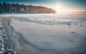 Картинка зима, свет, утро, Lietuva, Frozen Kaunas Sea