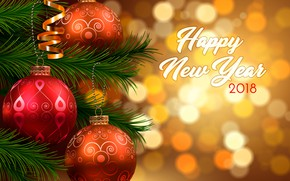 Картинка ветки, блики, фон, праздник, надпись, шары, игрушки, вектор, Рождество, Новый год, ёлка, боке, 2018, Happy …