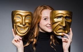 Картинка golden, woman, masks, theater