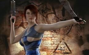 Картинка девушка, оружие, ножи, секиры