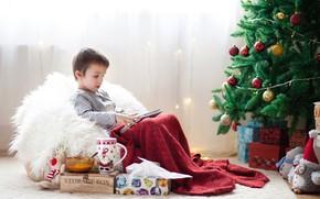 Картинка украшения, игрушки, елка, мальчик, Новый Год, подарки, 2018, New Year, Happy