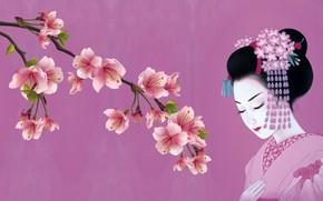 Обои весна, сакура, девушка, традиция, кимоно, арт, японка, канзаши