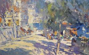 Картинка улица, дома, картина, импрессионизм, городской пейзаж, Константин Коровин, Вид Южной Франции