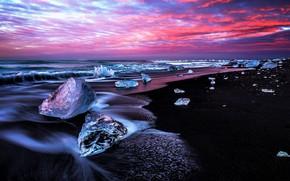 Картинка лед, небо, океан, побережье