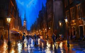 Картинка city, rain, umbrella, evening, street, people, painting, buildings, artwork, Poland, Gdansk, painting art, bell tower, …