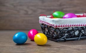 Картинка colorful, Пасха, rainbow, корзинка, spring, Easter, eggs, Happy, яйца крашеные