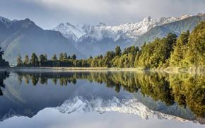 Картинка деревья, горы, озеро, отражение, Новая Зеландия, New Zealand, водная гладь, Lake Matheson, Южные Альпы, Southern ...