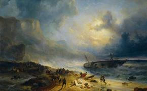 Картинка масло, картина, холст, морской пейзаж, Wijnand Nuijen, Кораблекрушение у Скалистого Берега