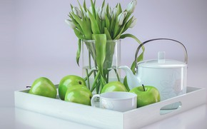 Картинка букет, утро, арт, тюльпаны, andrew krivulya, Tulips Composition(CoronaRender)
