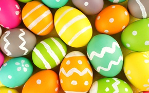 Картинка colorful, Пасха, happy, Easter, eggs, holiday, яйца крашеные