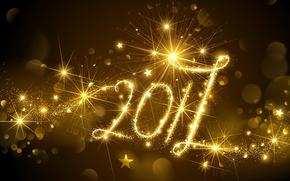 Картинка Новый Год, golden, gold, new year, happy, fireworks, decoration, 2017, holiday celebration