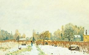 Картинка пейзаж, картина, Alfred Sisley, Альфред Сислей, Снег в Лувесьене