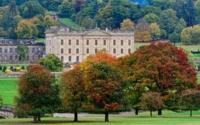 Картинка осень, деревья, мост, парк, замок, Англия, речка, Derbyshire, Chatsworth House