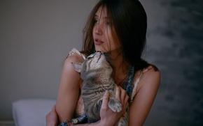 Картинка кошка, девушка, нежность