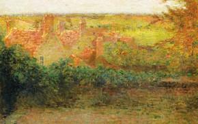 Картинка пейзаж, дома, картина, Henri Le Sedaner, Анри Ле Сиданэ, Терраса. Солнце. Жерберуа