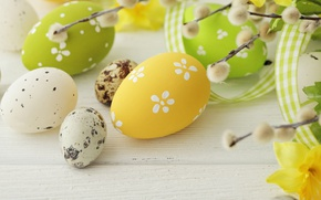 Обои colorful, Пасха, верба, spring, eggs, Happy Easter, Easter eggs