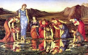 Обои девушки, 1875, зеркало, The_Mirror_of_Venus, лужа, Sir Edward Burne-Jones, Edward