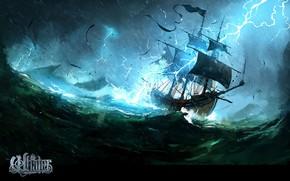 Картинка волны, шторм, молнии, корабль, The Whaler, Natures Wrath