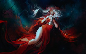 Обои девушка, фэнтези, красное платье, by exellero