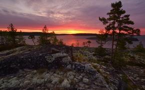 Картинка рассвет, Ладожское озеро, Карелия