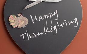 Картинка надпись, сердце, бантик, день благодарения, индюшка