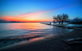 Картинка закат, природа, берег, плоская земля