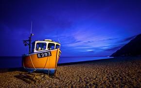 Обои England, море, побережье, Devon, English Channel, Англия, пляж, Девон, Залив Лайм, залив, Ла-Манш, баркас, Lyme ...