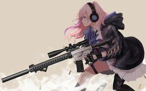 Картинка gun, game, pink hair, weapon, anime, pretty, sniper, asian, rifle, japanese, gloves, oriental, asiatic, assault …