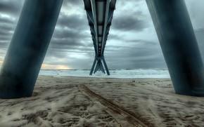 Картинка море, мост, берег