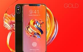 Картинка Apple, iPhone, gold, hi-tech, smartphone, tecnology, iPhone X