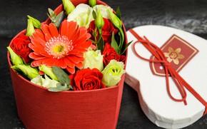 Картинка гербера, розы, коробка, композиция, сердце