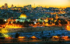 Картинка деревья, огни, дома, вечер, фонари, Израиль, Jerusalem