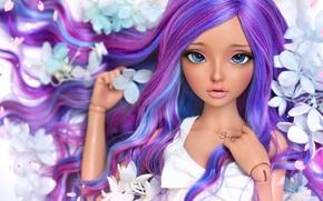 Обои девушка, цветы, волосы, кукла