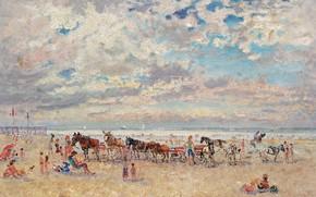 Картинка пейзаж, картина, Андре Гамбург, Andre Hambourg, Трувиль. Теплая Погода