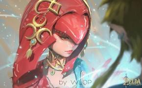 Обои girl, fantasy, game, magic, painting, digital art, artwork, fantasy art, The Legend of Zelda, Wlop, ...