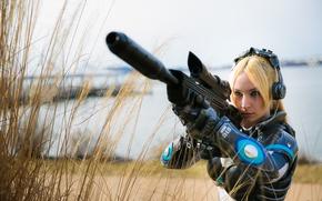 Картинка gun, game, armor, weapon, pretty, StarCraft II, Nova, StarCraft 2, sniper, cosplay, blonde, StarCraft, bishojo, …