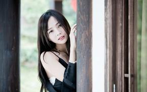 Картинка взгляд, девушка, волосы, азиатка
