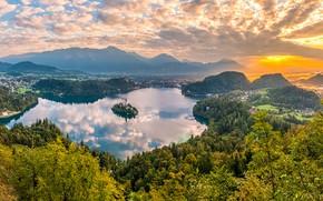 Картинка красота, озеро, утро, остров
