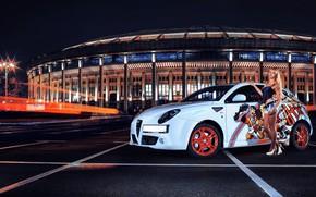 Картинка взгляд, ночь, Девушки, Alfa Romeo, Красивая девушка, белый авто