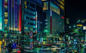 Картинка ночь, город, огни, движение