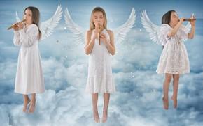 Обои девочки, музыка, небо, ангелы