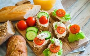 Картинка еда, хлеб, огурцы, бутерброды, помидоры-черри