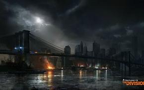 Обои мост, город, арт, нью йорк, Tom clancy's the division