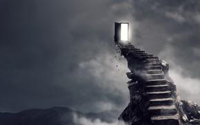 Картинка light, fantasy, staircase, door