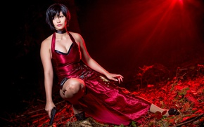 Обои game, red, Resident Evil 4, chines, red dress, dress, Umbrella Corp, oriental, brunette, spy, asiatic, ...