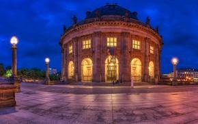 Картинка вечер, Германия, подсветка, Берлин, Bode-Museum