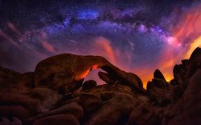 Обои камни, звезды, скалы, небо, облака, млечный путь, ночь, свет