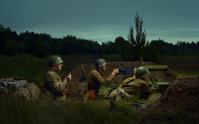 Картинка война, 9 мая, бойцы, пулемёт, День победы, Великая Отечественная Война, на Берлин, Советская Армия, к …