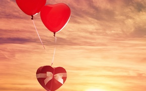 Картинка небо, солнце, шарики, подарок, сердце, red, бант, sky, heart, gift, Valentines Day, день Святого Валентина, …